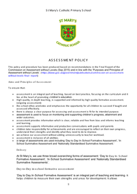 Assessment Procedures and Policy 2016