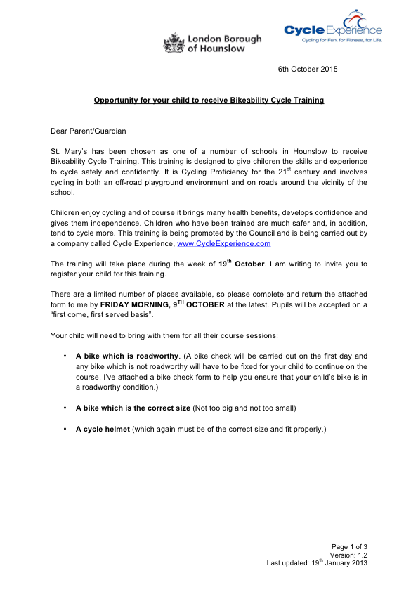 Bikeability letter to parents Oct 15