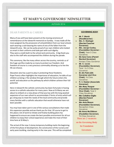 Governors Autumn Newsletter 2014