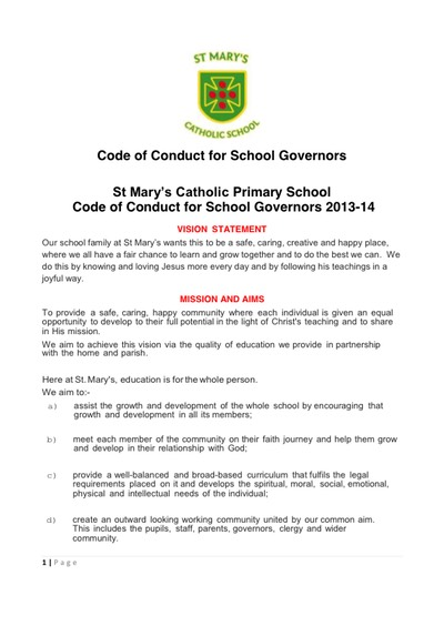 Governors' Code of Conduct Policy 2013