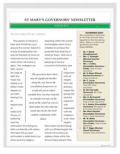 Governors newsletter Autumn 2012