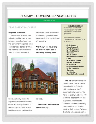 Governors newsletter Autumn 2013