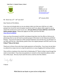 Y6 Rome update letter to parents Jan 2017